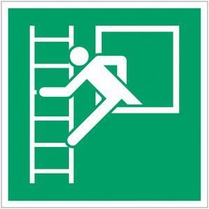 Pictogramme ISO 7010 en rouleau Fenêtre de secours avec échelle de secours - E016