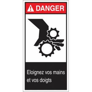 """Etiquettes ANSI Z535 """" Danger - Risque d'écrasement, rouleaux crantés"""""""