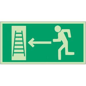 """Panneaux d'évacuation et de secours """"Homme qui court, flèche à gauche, échelle de secours"""""""