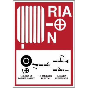 """Panneau de sécurité incendie """"Robinet d'incendie armé - R.I.A."""""""