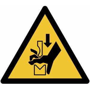 """Autocollant ToughWash® détectable avec pictogramme ISO 7010 """"Danger: Ecrasement de la main dans l'outil d'une presse plieuse"""" - W030"""