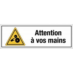 """Panneau PVC adhésif """"Risque d'écrasement, rouleaux lisses - Attention à vos mains"""""""