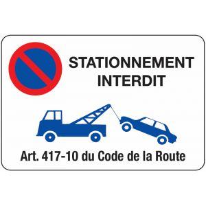 Panneau Stationnement interdit - Mise en fourrière