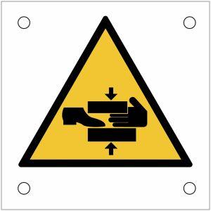 """Plaques de signalisation pour machines """"Danger, risque d'écrasement du pied et de la main"""""""