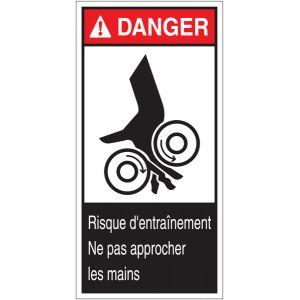 """Etiquettes ANSI Z535 """" Danger - Risque d'écrasement, rouleaux lisses"""""""