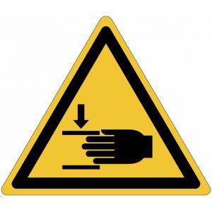 """Autocollant ToughWash® avec pictogramme ISO 7010 """"Danger: Ecrasement des mains"""" - W024"""