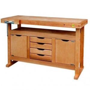 Établi bois - menuisier - 1,2 m - caisson 2 portes 4 tiroirs - presse OUTIFRANCE