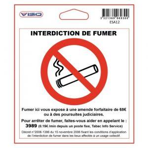 Étiquette signalétique - adhésive - 115x115 mm - Interdit de fumer VISO