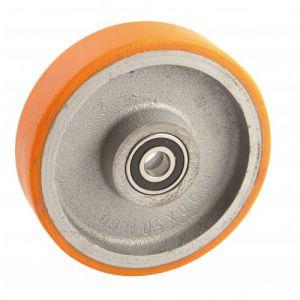 Roue aluminium gris - 250 mm - alésage 30 mm - 1200 kg - Roulements à billes AVL