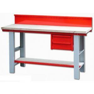 Établi - métal bois - mécanicien - à rayon - 1,50 m - bloc 2 tiroirs OUTIFRANCE