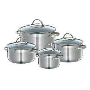 Set de 4 casseroles inox & 4 couvercles verre Küchenprofi (1,25/2...