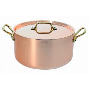 Cocotte ronde cuivre-inox à couvercle. Anses laiton ø 24cm