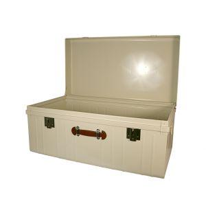 Malle avec poignée façon cuir - P55xL100xH46cm - Blanc perle
