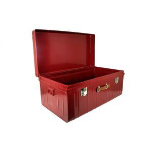 Malle avec poignée façon cuir - P55xL100xH46cm - Rouge rubis nacré