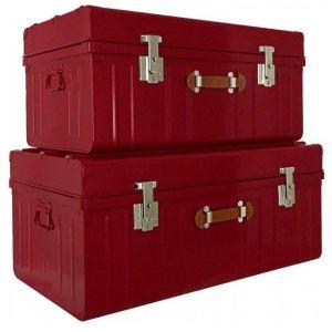 Lot de 2 malles avec poignée façon cuir - P55xL100xH46cm - Rouge rubis nacré