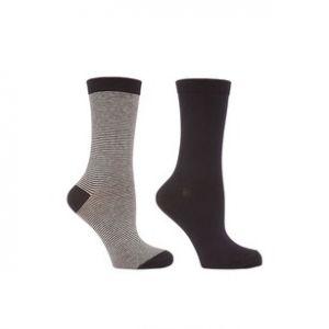 Lot x2 chaussettes unie/rayée, gris