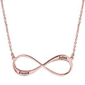 Collier en plaqué or rose chaîne avec pendentif infini à graver 1 ou 2 prénoms - longueur 40cm + 5cm de rallonge