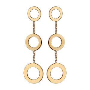 Boucles d'oreille pendantes en plaqué or 3 anneaux avec chaînette fermoir poussette