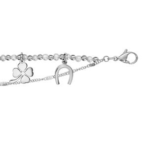 Bracelet en acier 3 chaînes dont 1 avec boules blanches et pampilles coeur, aile d'ange, infini, trèfle à 4 feuilles, fer à cheval et clé - longueur 16cm + 3cm de rallonge