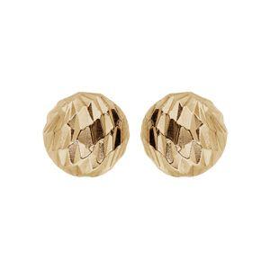 Boucles d'oreille en argent et dorure jaune boule diamantée 8mm et fermoir poussette