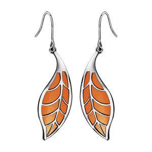 Boucles d'oreilles rondes en acier crochet motif feuillage polyuréthane orange