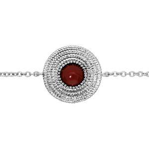 Bracelet en argent rhodié chaîne avec motif rond et pierre rouge 16+2cm