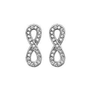 Boucles d'oreilles en argent rhodié infini en rail d'oxydes blancs sertis petit modèle et fermoir clou avec poussette