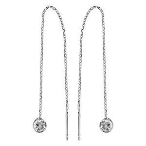 Boucles d'oreilles passantes en argent rhodié chaînette avec oxyde blanc à 1 extrémité et baguette à l'autre