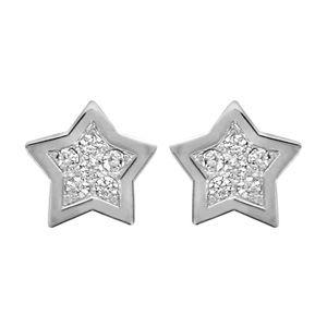Boucles d'oreilles en argent rhodié étoile pavée d'oxydes blancs sertis avec bords lisses et fermoir clou avec poussette