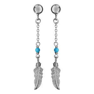 Boucles d'oreilles pendantes en argent rhodié chaînette avec boule turquoise et plume suspendue et fermoir clou avec poussette