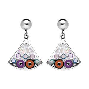 Boucles d'oreille Stella Mia en acier et nacre éventail suspendu avec motif violet et orange et fermoir poussette
