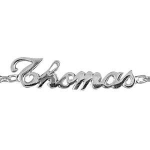 Bracelet en argent chaîne maille forçat avec découpe anglaise 3 prénoms au milieu - longueur 18,5cm réglable 17cm