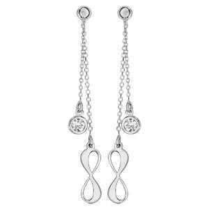 Boucles d'oreilles en argent rhodié double pendantes 1 infini et 1 oxyde blanc serti clos fermoir tige à poussette