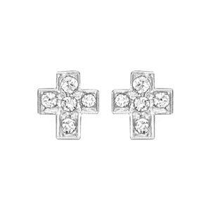 Boucles d'oreilles en argent rhodié croix ornée d'oxydes blancs sertis et fermoir clou avec poussette