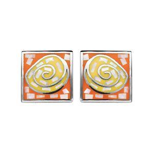 Boucles d'oreille Stella Mia en acier et nacre forme rectangle avec spirale orange et jaune et fermoir poussette