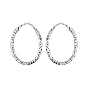 Créoles en argent rhodié ovale fil diamanté 25mm