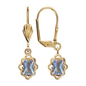 Boucles d'oreilles pendantes en plaqué or oxyde bleu ciel rectangulaire avec tour ajouré en dentelle et fermoir dormeuse