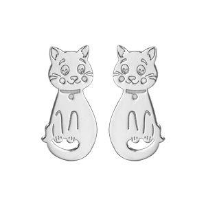 Boucles d'oreilles pour enfant en argent rhodié chat fermoir poussette