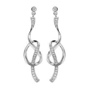 Boucles d'oreilles pendantes en argent rhodié noeud avec parties ornées d'oxydes blancs sertis et fermoir poussette
