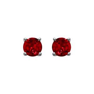 Boucles d'oreilles tige argent rhodié pierre rouge ronde 5mm 4 griffes