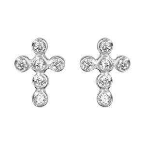 Boucles d'oreilles en argent rhodié croix chrétienne en oxydes blancs sertis clos et fermoir clou avec poussette