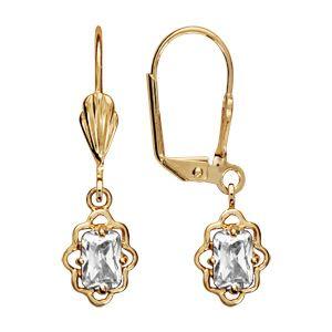 Boucles d'oreilles pendantes en plaqué or oxyde blanc rectangulaire avec tour ajouré en dentelle et fermoir dormeuse