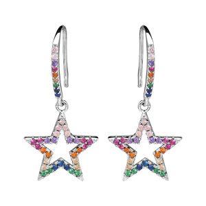 Boucles d'oreille pendantes en argent rhodié etoile multi couleurs et fermoir crochet