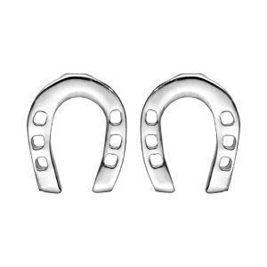 Boucles d'oreille en argent rhodié fer à cheval et fermoir poussette