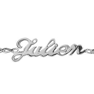 Bracelet en argent chaîne mailles 1+1 largeur 2mm avec découpe anglaise 3 prénoms - longueur 18,5cm réglable 17cm