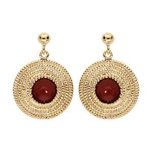 Boucles d'oreille en plaqué or rond ethnique avec pierre rouge