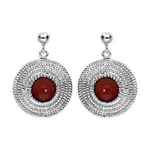 Boucles d'oreille en argent rhodié ethnique ronde avec pierre rouge et fermoir poussette