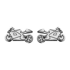 Boucles d'oreilles en argent rhodié moto de route et fermoir clou avec poussette
