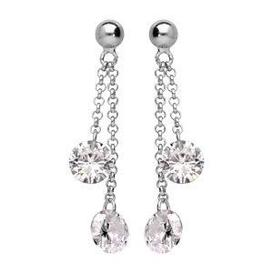 Boucles d'oreille pendantes en argent rhodié double chaînette pierres blanches et fermoir poussette