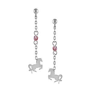 Boucles d'oreilles pendantes en argent rhodié chaînette longue avec oxyde rose au milieu et cheval à l'extrémité et fermoir clou avec poussette